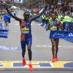 Lawrence Cherono of Ethopia crosses the finish line as the men's elite champion at the 2019 Boston Marathon